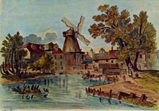 Painting of Middle Mill, an octagonal smock mill
